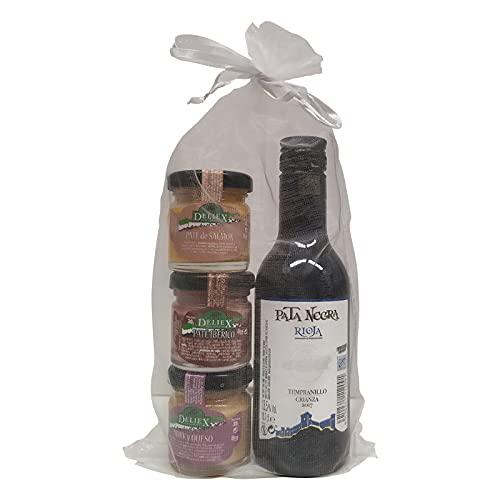 Regalo de vino Rioja Crianza Pata Negra con 3 tarros de patés (ibérico, de salmón y de york y queso) marca Deliex para eventos