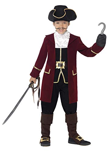 Smiffy's-43997M Traje de Capitán Pirata, Chaqueta, Falso Chaleco, Pantalones, Color Negro, One Size (43997M)