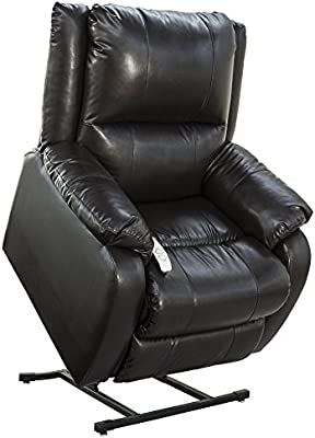 """NM-2650 (Sta-Kleen Vinyl-Black) Mega Motion Power Lift Recliner Chair.Weight Capacity: 375 lb. Suggested User Height: 5'6"""" to 6'. Free Curbside Delivery."""