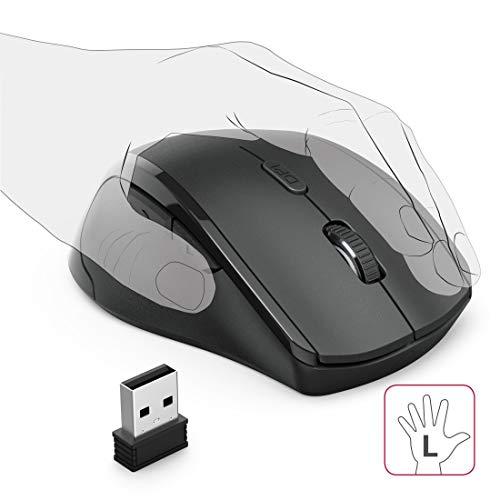 Hama Maus kabellos für Linkshänder ergonomisch (Linkshänder-Maus ohne Kabel, Wireless Funkmaus, USB Empfänger, vertikal, 800-1600 dpi, 3 Tasten inkl. Browser-Tasten, 2,4 GHz) schwarz