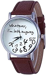 Fashion Leather Strap Watches 2 PCS Alphabet Number Pattern Leather Strap Watch(Black) (Color : Brown)