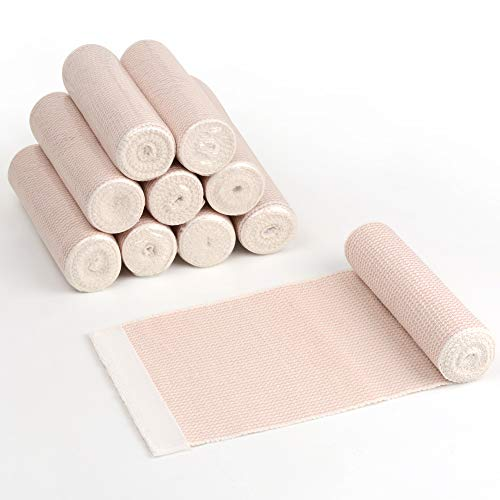 Elastic Bandage Wrap, Latex Free Medical Cotton Compression Bandage Roll with Hook and Loop Closure for First Aid, Sprains and Injuries, 6 Inch x 5 Yards Stretched, 10 Pack