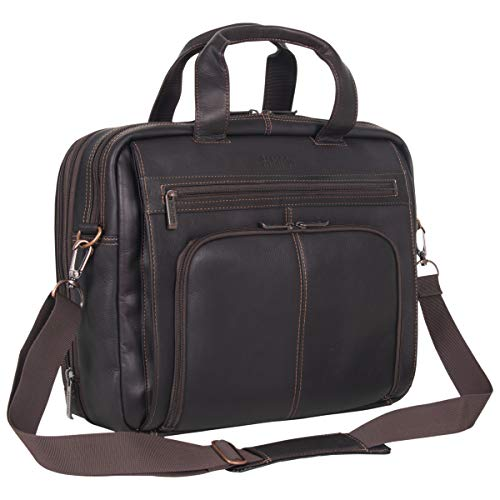 "Kenneth Cole Reaction Colombian Leather Dual Compartment Expandable 15.6"" Laptop Portfolio, Brown"