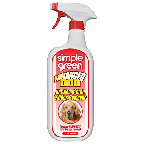 Simple Green Advanced Dog Stain & Odor Remover - Bacteria & Enzyme Cleaner for Large Dogs - Stain Remover for Carpet & Fabric – eliminates Urine Odor (32 oz Sprayer)