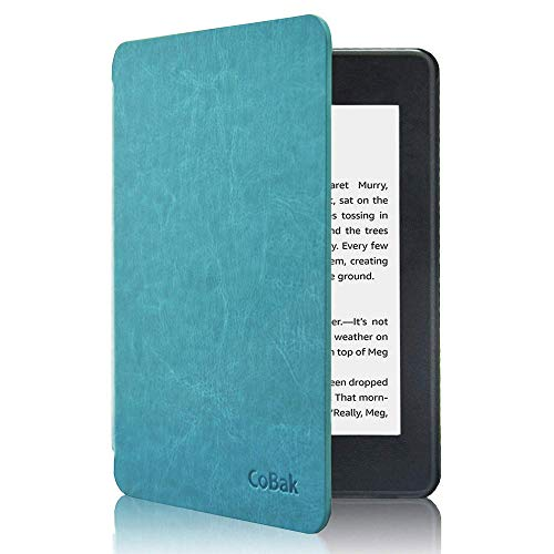 CoBak Kindle Paperwhite Case - All New PU Leather Smart Cover with Auto Sleep Wake Feature for Kindle Paperwhite 10th Generation 2018 Released, Sky Blue