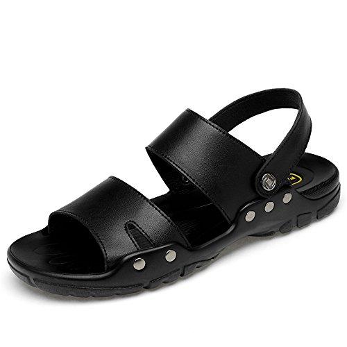 Casual Suede Shoe Männer weichen Sandalen komfortable offene Zehe Wanderschuhe für den Sommer im Freien Herren Sneaker (Color : Black, Size : 40 EU)
