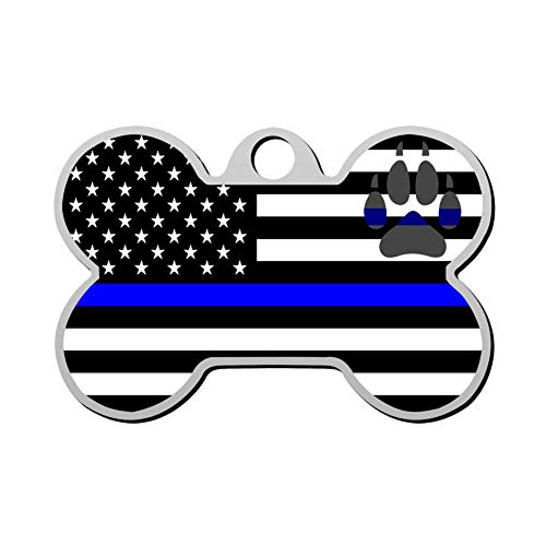 GPZHM Customized Thin Blue Line Dog Claw Pet Tag - Bone Shaped Dog Tag & Cat Tags Pet ID Tag Personalized Custom Your Pet's Name & Number 3D Printing