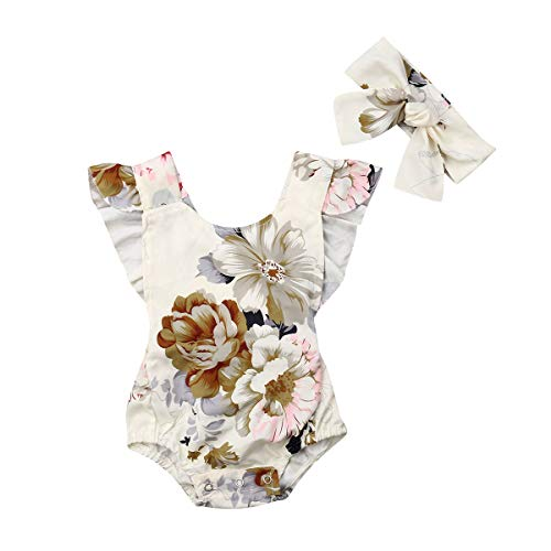 Lamuusaa Newborn Baby Girls Floral Romper Bodysuit Kid Baby Sleeveless Dress Summer Sister Matching Outfits 6M-5Y (Floral Romper, 12-18M)