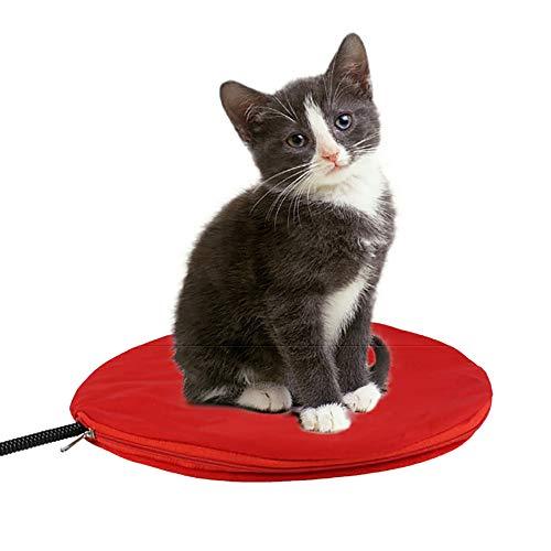 Alfombrilla calefactora eléctrica redonda impermeable para mascotas 30 * 30 cm Alfombrilla térmica Cama para gatos perros 25 ℃ -55 ℃ 7 niveles de calor, con cable de acero resistente a masticar
