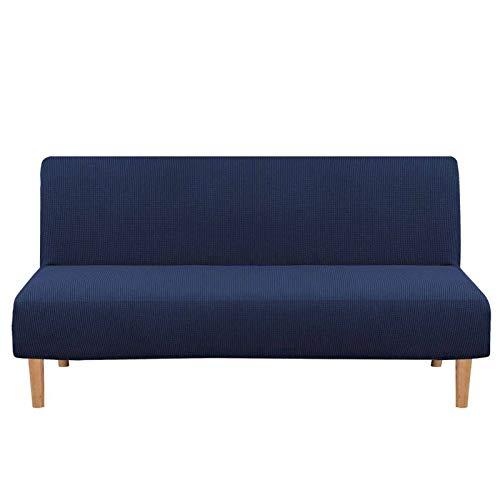 NUELLO Armless Futon Cover, Stretch Sofa Bed Slipcover Protector Elastic Feature Rich Textured High Spandex Small Checks Jacquard Fabric Sofa Shield Futon Cover Machine Washable-Navy blue-68'-85'