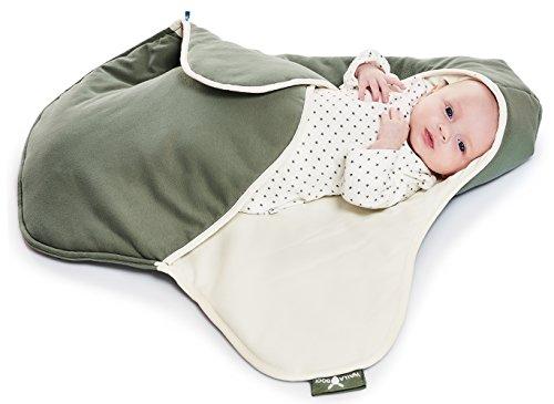 Wallaboo Einschlagdecke Coco, Universal für Babyschale, Autositz, zB. Für Maxi-Cosi, Römer, für Kinderwagen, Buggy oder Babybett, 100% Baumwolle, 90 x 70 cm, Farbe: Grün