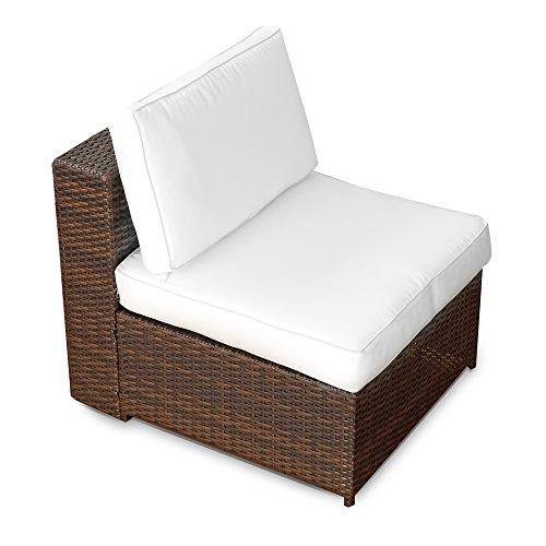 erweiterbares 15tlg. Balkon Polyrattan Lounge Ecke – braun – Sitzgruppe Garnitur Gartenmöbel Lounge Möbel Set aus Polyrattan – inkl. Lounge Sessel + Ecke + Hocker + Tisch + Kissen - 5
