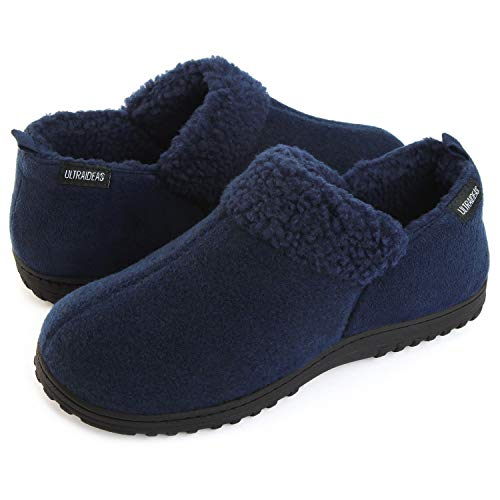 ULTRAIDEAS Men's Cozy Memory Foam Slippers with Warm Fleece Lining, Wool-Like Blend Micro Suede House Shoes with Indoor Outdoor Rubber Sole(Navy Blue, Size 11)