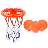 Deniseonuk Bath Toys Basketball Hoop and 3 Balls Playset for Toddlers Kids with Sucker Boy Girl Bathtub Swimming Pool Shooting Game