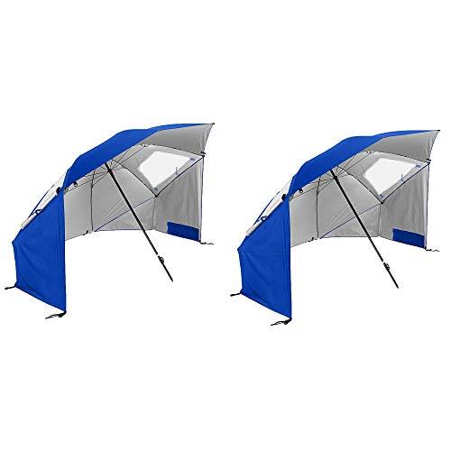 Sport-Brella Super Brella 8' Portable Sun Shelter Weather Umbrella, Blue(2 Pack)