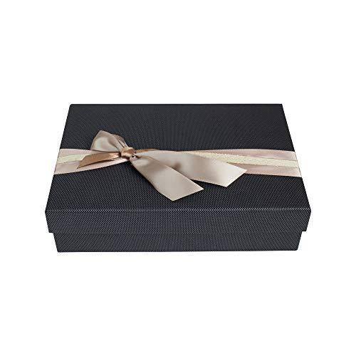 Emartbuy Rígido Lujo Caja de Regalo de Presentación en Forma de Rectángulo, 30.5 x 23 x 5 cm, Caja Negra Texturizada Con Tapa, Interior Impreso y Cinta Decorativa de Raso Beige y Oro