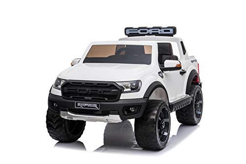 Babycar  Ford Ranger Raptor 2 plazas 12 V con asiento de piel coche eléctrico para niños puertas abatibles con mando a distancia 2,4 GHz Soft Start Full Optional ruedas de goma MP3 llaves (blanco)