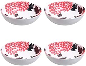 Better Homes and Gardens Black Flower Melamine Cereal Bowl, 4-Pack