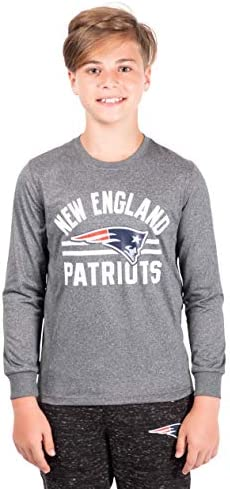 Ultra Game NFL New England Patriots Youth Super Soft Crew Neck Long Sleeve T Shirt Heather Gray product image