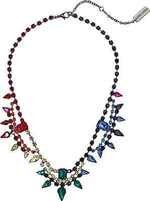Steve Madden Women's Multistring Rainbow Rhinestone Cluster Statement Necklace Multi/Gunmetal-Tone One Size