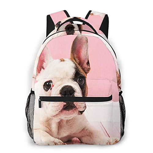 Laptop Backpack Pink French Bull Dog Cute Puppy, School Bag for Boy Girl