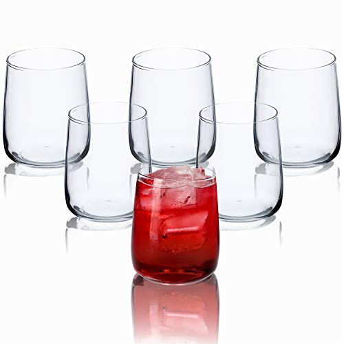 KADAX Set di 6 bicchieri per acqua, set di bicchieri da succo in vetro, resistenti per acqua, succo, giardino, feste, drink, birra, bicchieri universali, bicchieri per bevande (Rebeka, 330 ml)