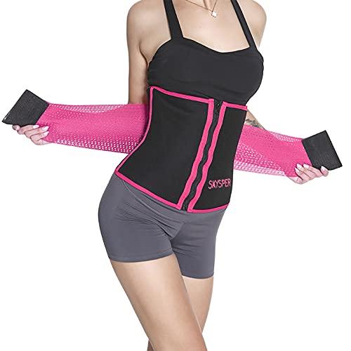 SKYSPER Faja Reductora Cinturón de Sudor para Mujeres y Hombres Cinturón Adelgazante para Mujer Fitness Ajustable Corsé Adelgazante Cinturón Lumbar Sauna Abdominal Pérdida de Peso Quema de Grasa