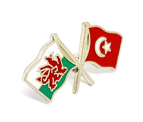Broche de solapa de metal esmaltado con doble banderas nacionales de Gales, diseño de Turquía