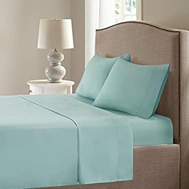 Smart Cool Bed Sheets Set - Microfiber Moisture Wicking Fabric Bedding - Queen Size Sheets - Aqua Incl. Flat Sheet, Fitted Sheet and 2 Pillow Cases