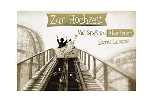 BSB Hochzeitskarte Grußkarte Glückwunschkarte zur Hochzeit - Premium Line - Achterbahn - Umschlag creme, 911190-2