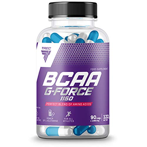 Trec Nutrition BCAA G-Force Package of 1 x 90 Capsules – Amino Acids - L-leucine - L-valine - L-isoleucine and L-Glutamine - Muscle Regeneration - Supplement for Athletes