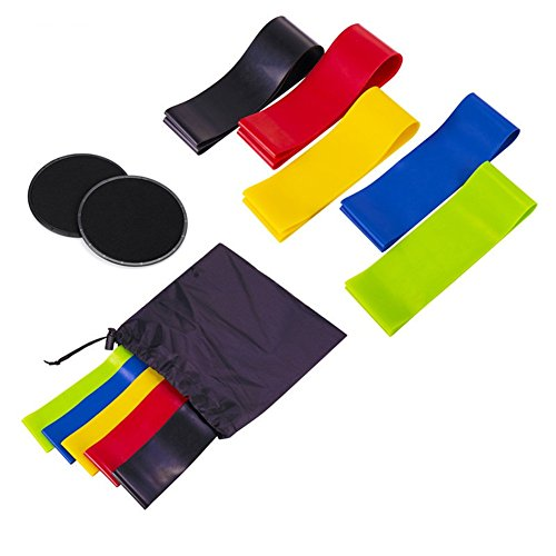 Exercise Loop Bands (Set of 5) und Dual Sided Gliding Discs Core Sliders, Natural Latex Workout Bands, Bauch-Trainingsgeräte, Fitness/Stretch/Yoga/Pilates