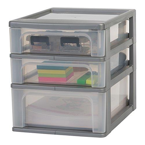 Amazon Basics OCH-2021 Schubladencontainer mit 3 Schübe, Plastik, Silber, 2 kleine und 1 mittlere Schubladen