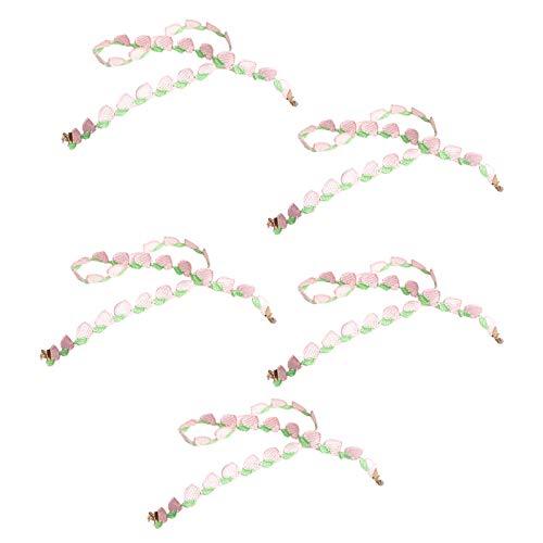 GROOMY Winddichtes Lanyard, 5Pcs Kids Gesichtsmaskenhalter Lanyard Stickerei Fruchtkette Brillenband Rope-Pink
