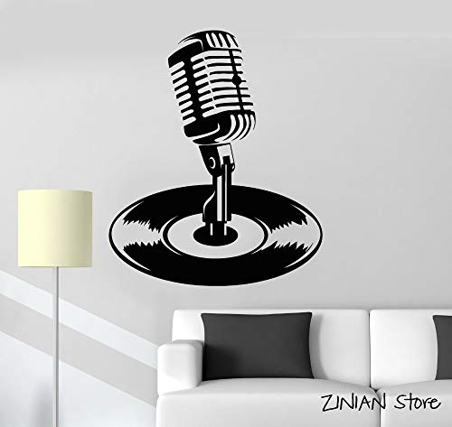 yaonuli Microfoon vinyl record Kara muziek muursticker verwijderbare muur sticker slaapkamer woonkamer muur decoratie