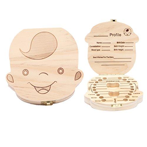 Wooden Baby Tooth Keepsake Box Customize Personalized Baby Teeth Storage Organizer First Lost Milk Teeth Deciduous Souvenir Case (Boy)
