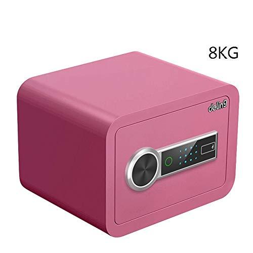 AXWT Huella Digital + contraseña, Home Box Digital Valor Seguro Electronic Safe, Caja de Seguridad, Cash Box, Caja de Seguridad de Acero sólido for la Oficina o Uso en el hogar (Color : Rosado)