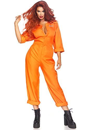 Leg Avenue Damen Prison Jumpsuit Kostüme, orange, O/S