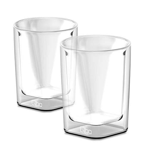 Tchibo Qbo Caffè Glas 2 Gläser (hochwertiges Glas mit gelasertem Qbo-Logo, mundgeblasen, 6,2 x 6,2 x 7 cm