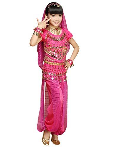 besbomig Kinder Mädchen Bauchtanz Kostüm - Kinder Chiffon Ziemlich Indien Tanz Outfit Performance-Kleid 5 Stück Set
