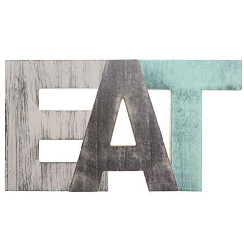 signmeili Letras de Madera Decorativas para Colgar, Letras de Madera para Comer con Orificio para Colgar, letreros Decorativos montados en la Pared para Cocina y hogar 18 * 14 * 1.8 cm (tamaño único)
