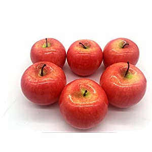 Maggift Artificial Fruits 6 pack,Decorative Fruit (Apple Red)