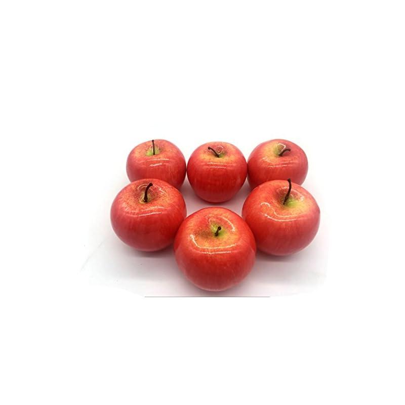 silk flower arrangements maggift artificial fruits 6 pack,decorative fruit (apple red)