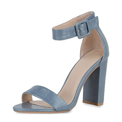 SCARPE VITA Damen High Heels Sandaletten Blockabsatz Party Absatzschuhe Kroko-Optik Schuhe Riemchensandaletten Sommer 191305 Hellblau Kroko 40