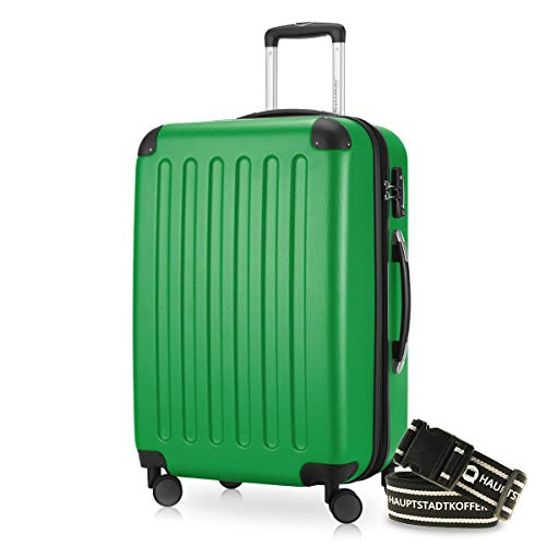 Hauptstadtkoffer - Spree Hartschalen-Koffer Koffer Trolley Rollkoffer Reisekoffer Erweiterbar, 4 Rollen, TSA, 65 cm, 74 Liter, Grün +Gepäckgurt