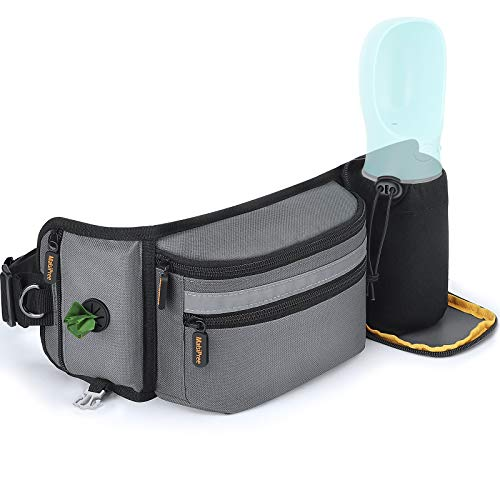 MalsiPree Dog Treat Pouch for Training – Built in Poop Bag Dispenser with Hidden Water Bottle Holder, Hands Free Waist Belt Fanny Pack Great for Puppy Class, Travel, Running, Walking, Hiking