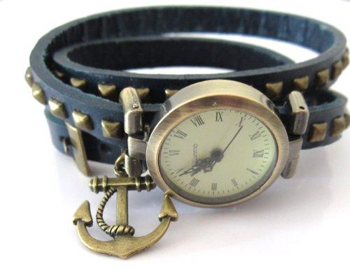 schmuck-stadt ' Maritimer Traum ' Anker Wickel-Armbanduhr See Anhänger Bronze-Farben
