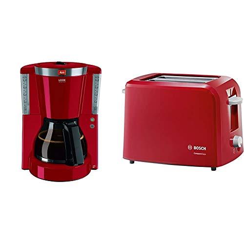 Melitta Look Selection 1011-17, Filterkaffeemaschine mit Glaskanne, AromaSelector, Rot & Bosch TAT3A014 CompactClass Kompakt-Toaster, Auftaufunktion, versenkbarer Brötchenaufsatz, 980 W, rot