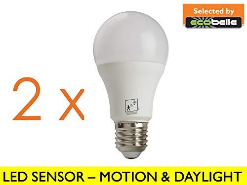 Selected by ECOBELLE® 2 x Bombillas LED con Sensor de Movimiento y Sensor Crepuscular E27 12W Color Blanco Cálido 2700K