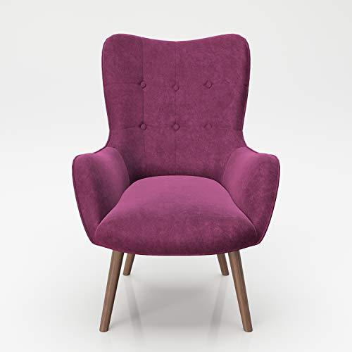 PLAYBOY Sessel mit Massivholzfüssen, Samt in Lila/Purple, Bestickung und Keder, Samtbezug, Retro-Design für Wohnzimmer, Schlafzimmer, Lounge oder Lesebereich, Ohrensessel in verschiedenen Farben